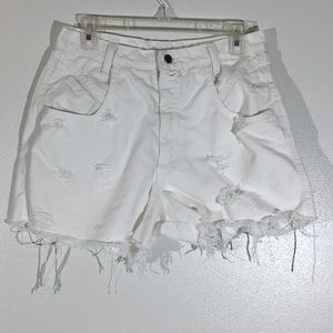 Vintage Zena High Rise White Distressed Shorts- 12